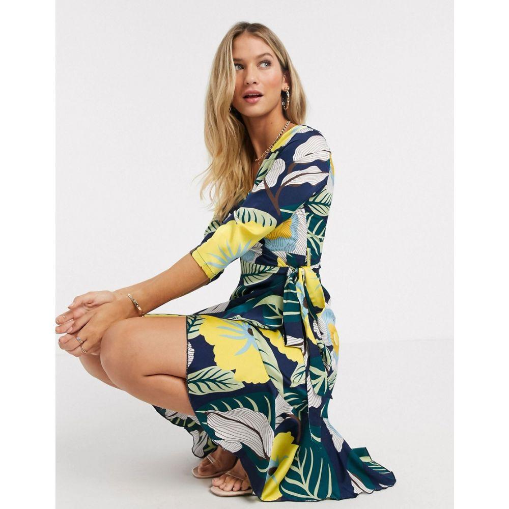 リカリッシュ Liquorish レディース ワンピース ラップドレス ワンピース・ドレス【Wrap Mini Dress With Ruffle In Navy Floral Print】Navy floral