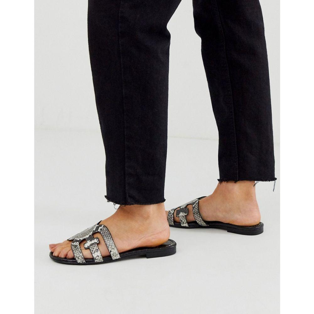 サム エデルマン Sam Edelman レディース サンダル・ミュール フラット シューズ・靴【Cross Strap Flat Sliders Sandal In Snake】Black/white