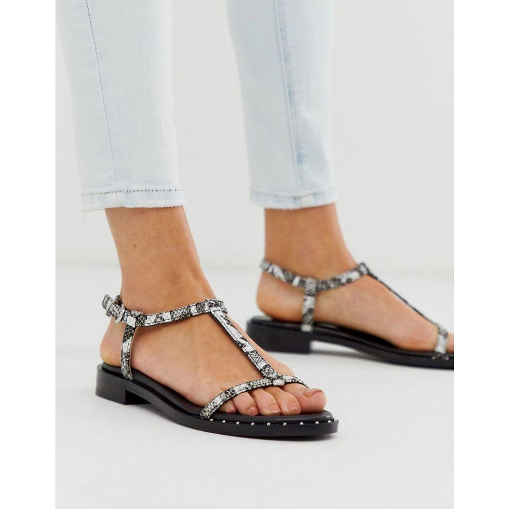 ブロンクス Bronx レディース サンダル・ミュール シューズ・靴【Leather Strappy Sandals In Black And White Snake】Black/white snake