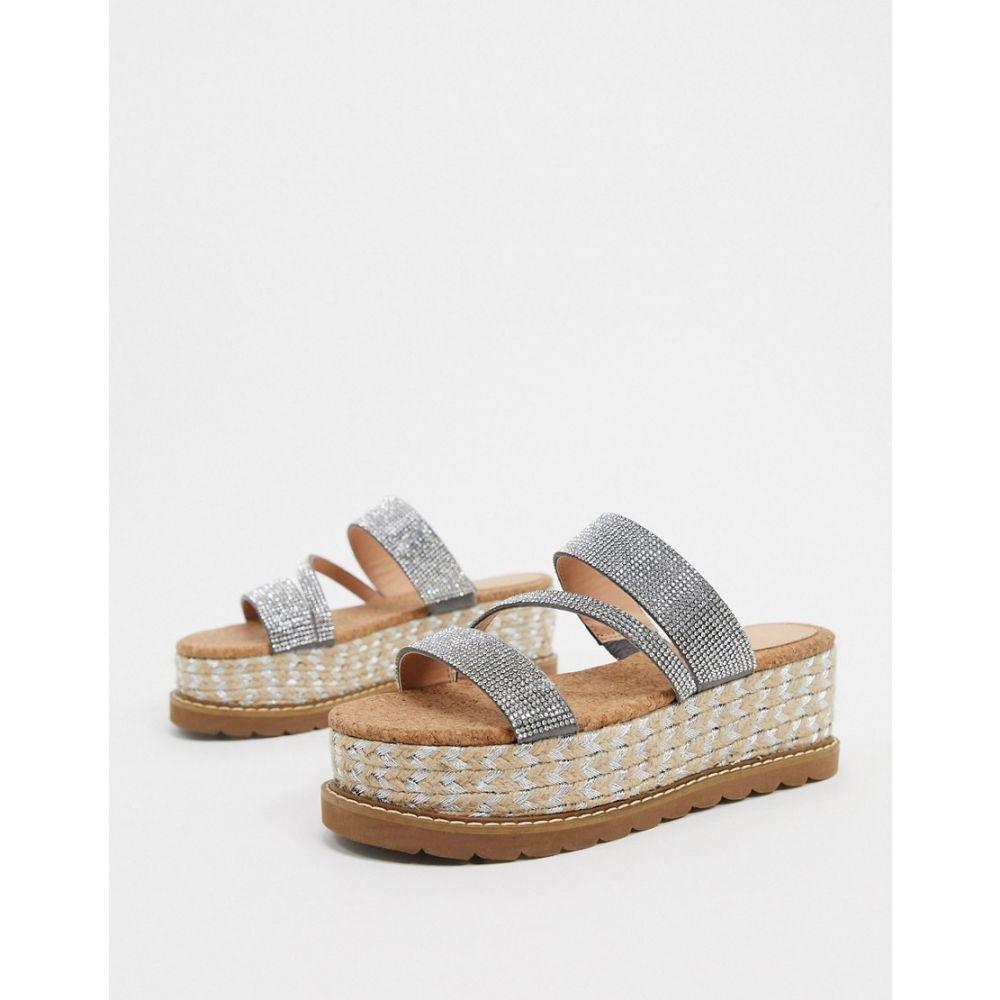 エイソス ASOS DESIGN レディース サンダル・ミュール シューズ・靴【Asos Design Tami Diamante Flatform Sandals In Silver】Silver