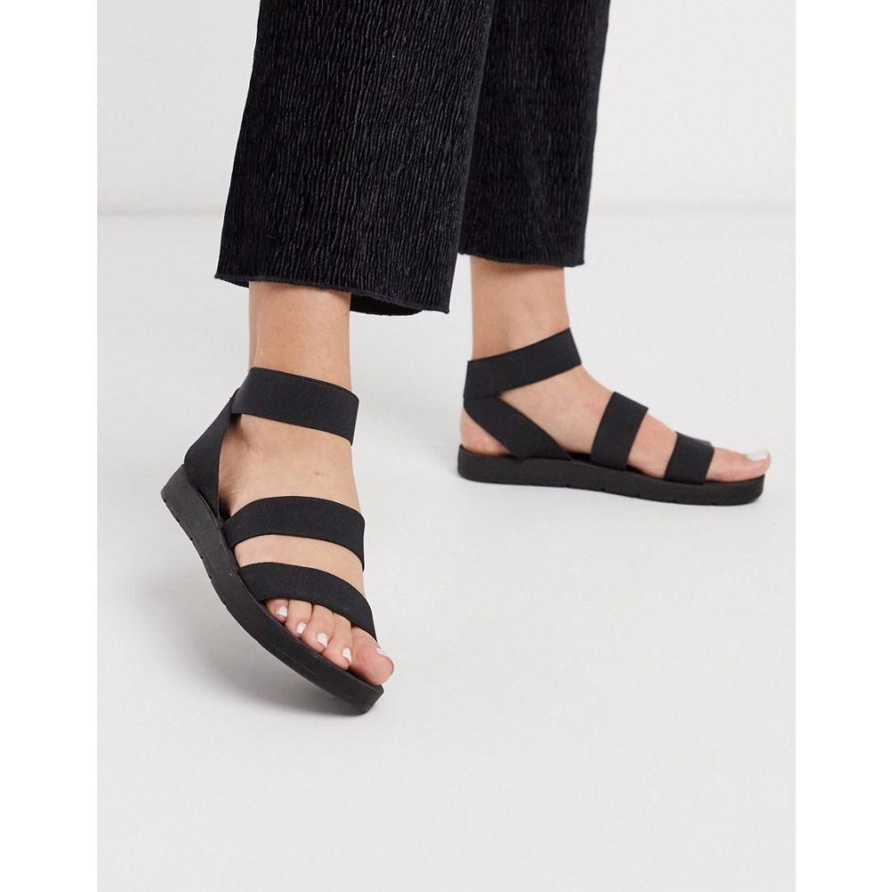 ロンドン レーベル London Rebel レディース サンダル・ミュール フラット シューズ・靴【Elastic Strap Flat Sandals In Black】Black