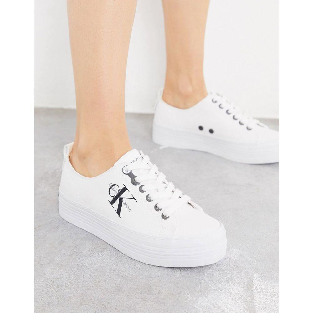カルバンクライン Calvin Klein レディース スニーカー シューズ・靴【Zolah Logo Flatform Trainers In White】White