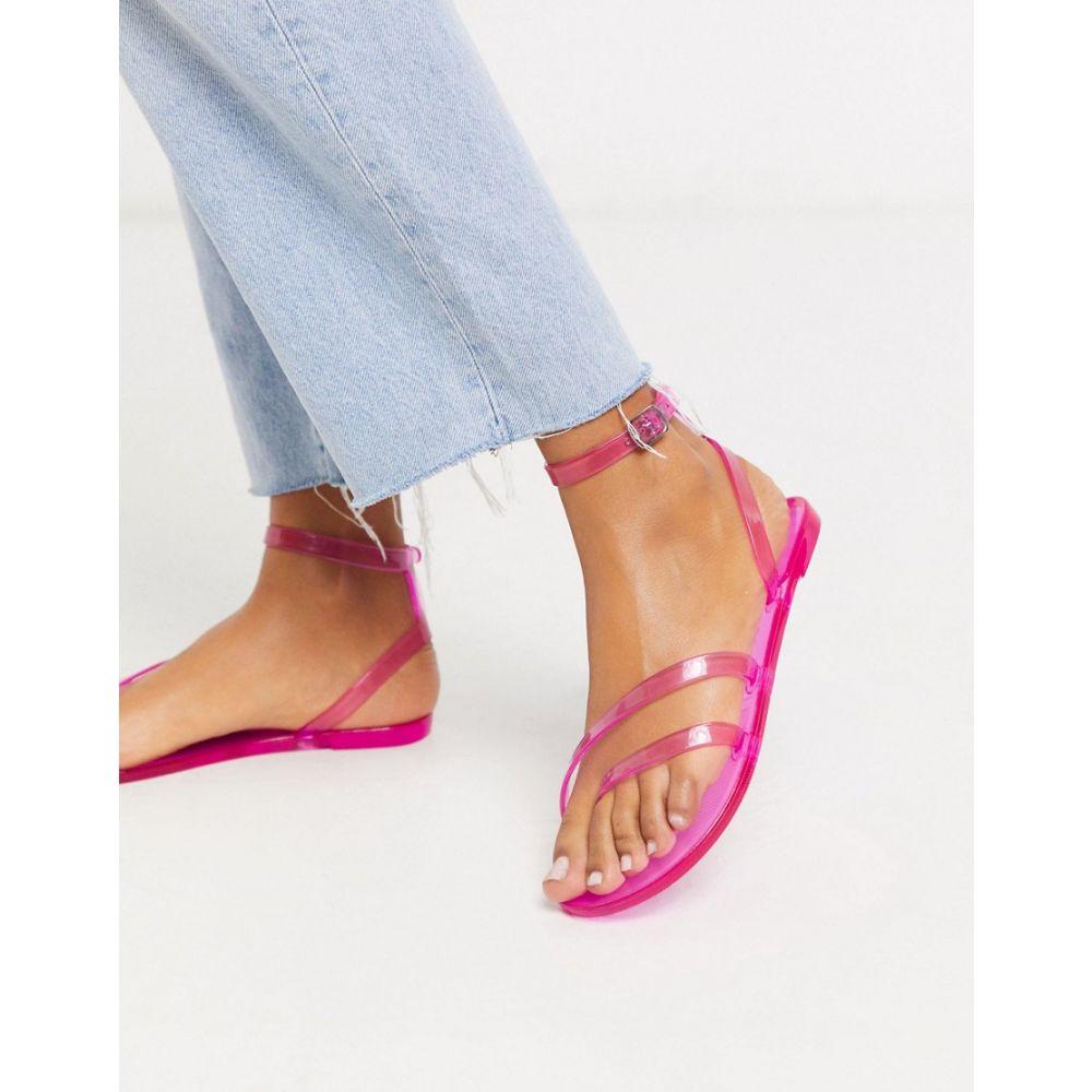 エイソス ASOS DESIGN レディース サンダル・ミュール フラット シューズ・靴【Asos Design Fluke Asymetric Jelly Flat Sandals In Neon Pink】Neon pink