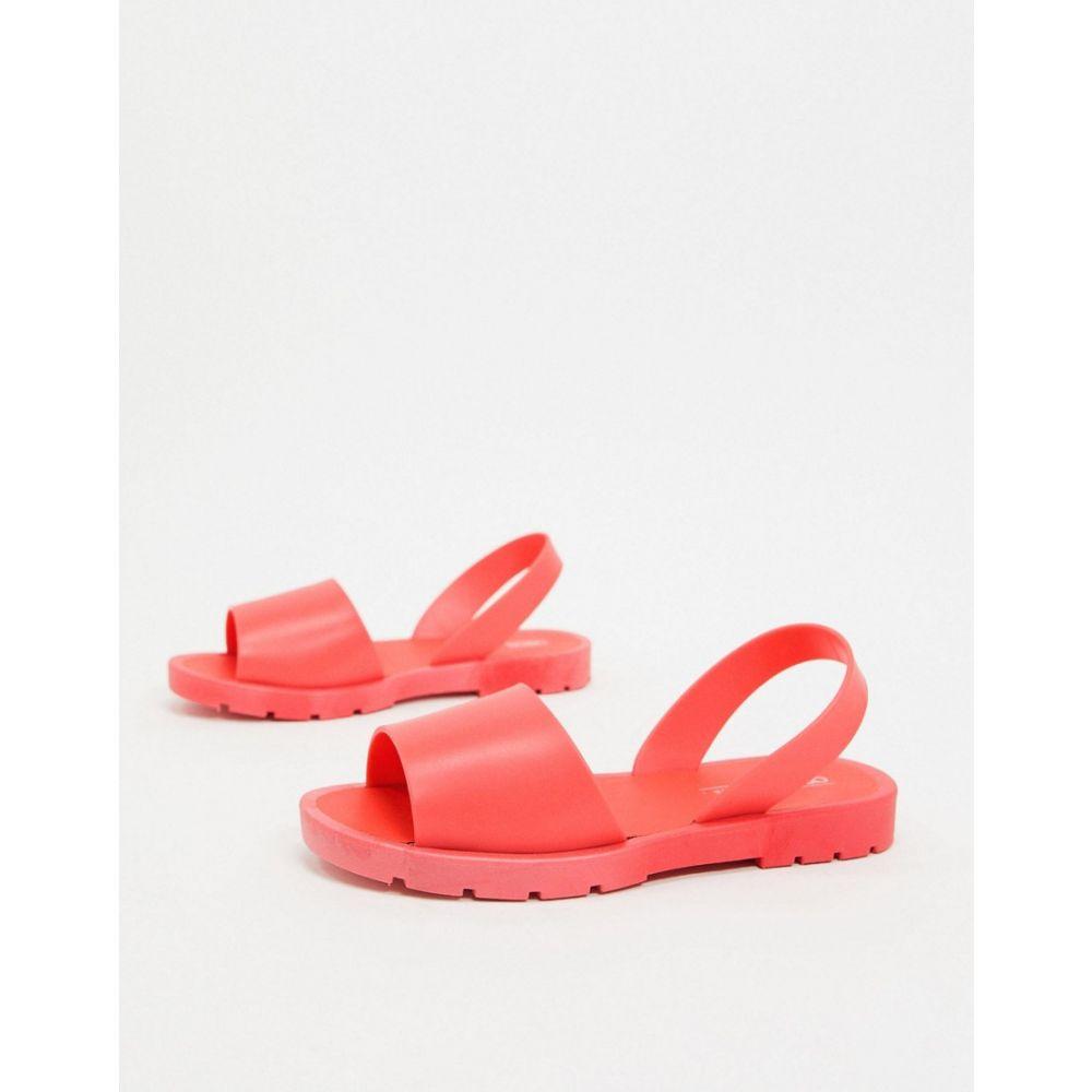 エイソス ASOS DESIGN レディース サンダル・ミュール フラット シューズ・靴【Asos Design Finale Jelly Flat Sandals In Coral】Coral