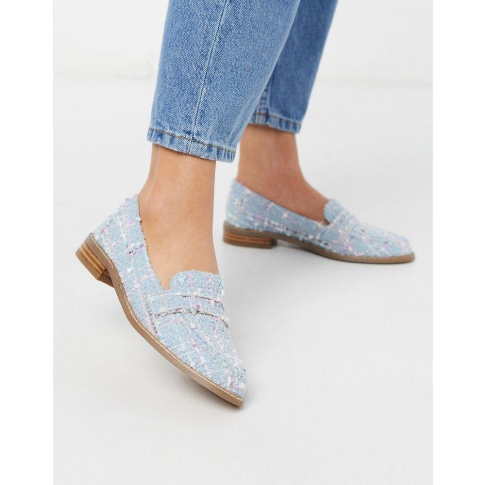 エイソス ASOS DESIGN レディース ローファー・オックスフォード シューズ・靴【Asos Design Mail Loafer Flat Shoes In Pastel Tweed】Pastel tweed
