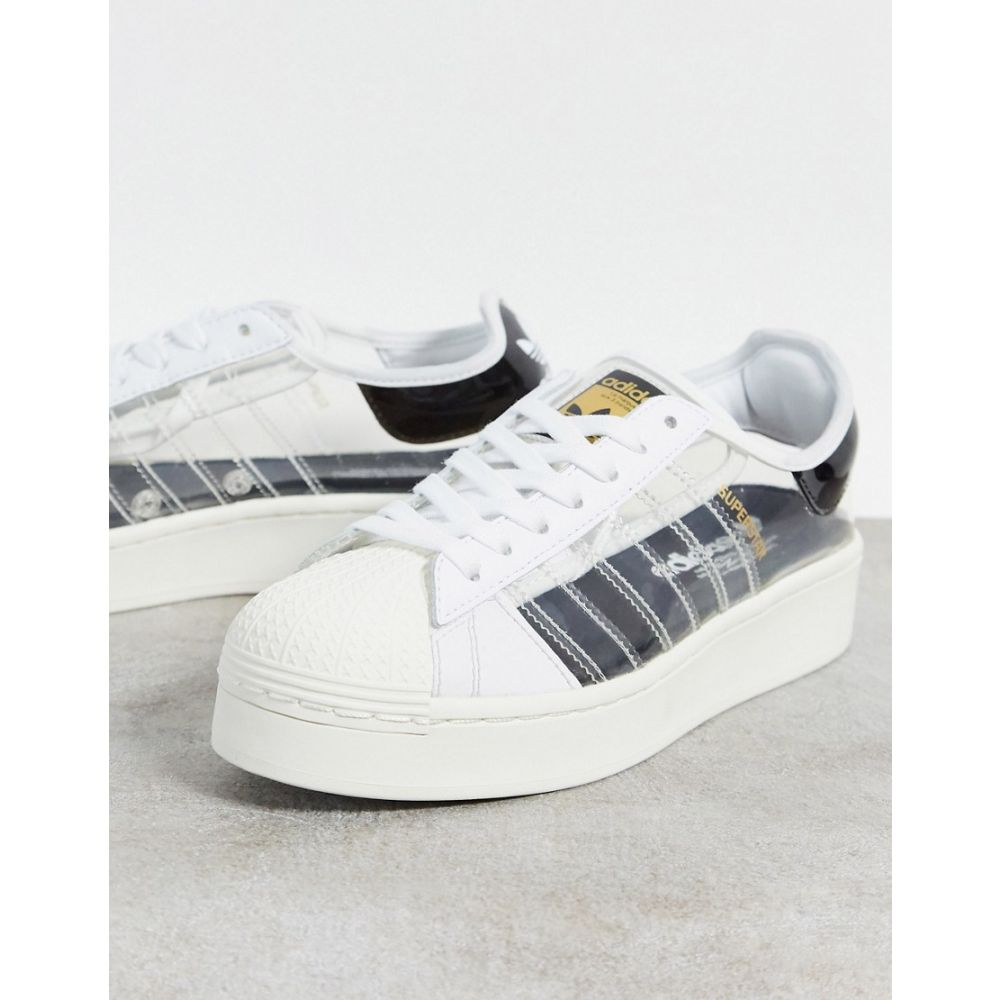 アディダス adidas Originals レディース スニーカー シューズ・靴【Adidas Originals Superstar Bold Trainers With Transparent Panels In White】White/navy