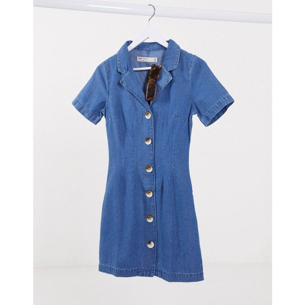 エイソス ASOS DESIGN レディース ワンピース デニム シャツワンピース ワンピース・ドレス【Asos Design Soft Denim Shirt Dress In Midwash Blue】Midwash blue