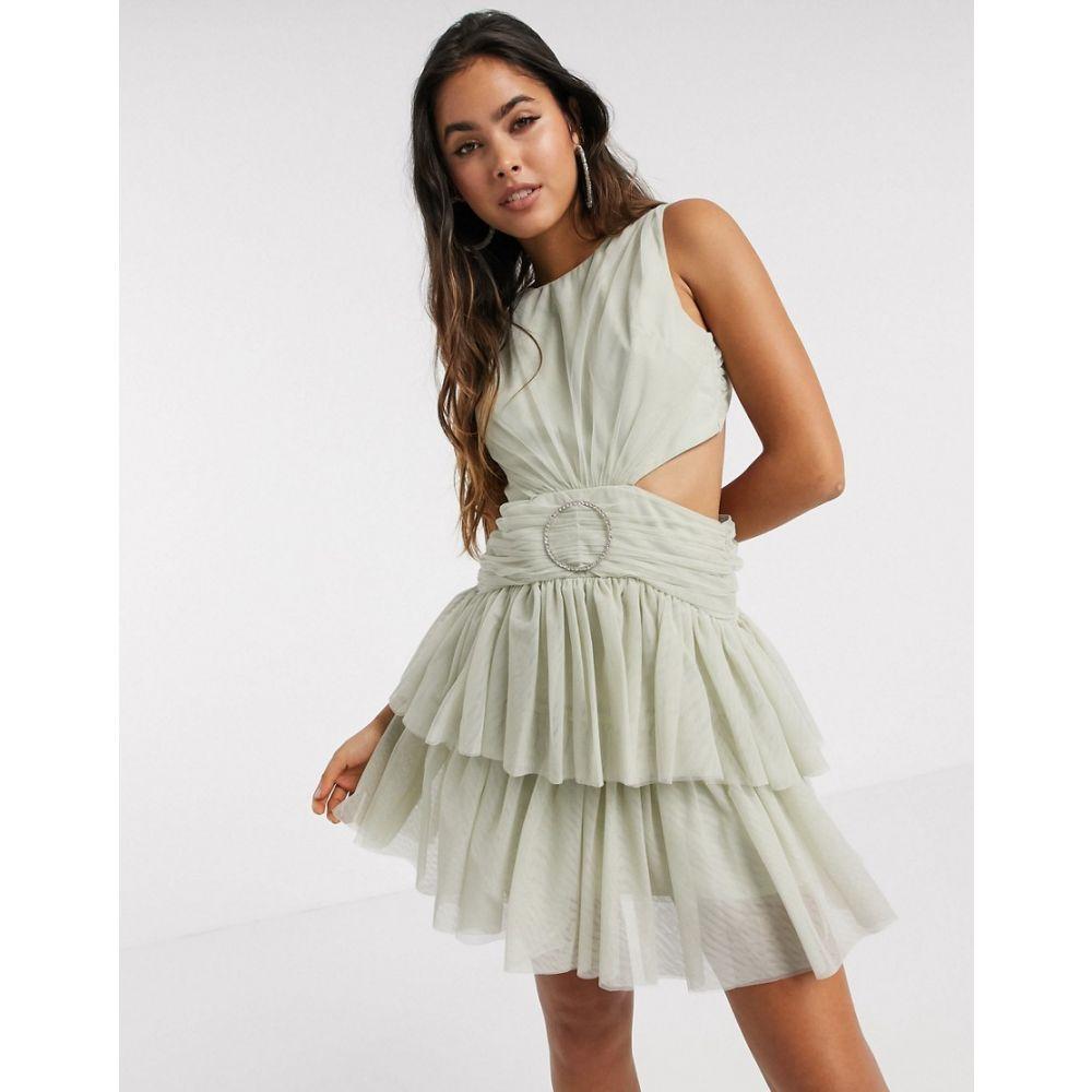 エイソス ASOS DESIGN レディース ワンピース ミニ丈 ワンピース・ドレス【Asos Design Tulle Mini Dress With Embellished Ring In Sage Green】Sage green