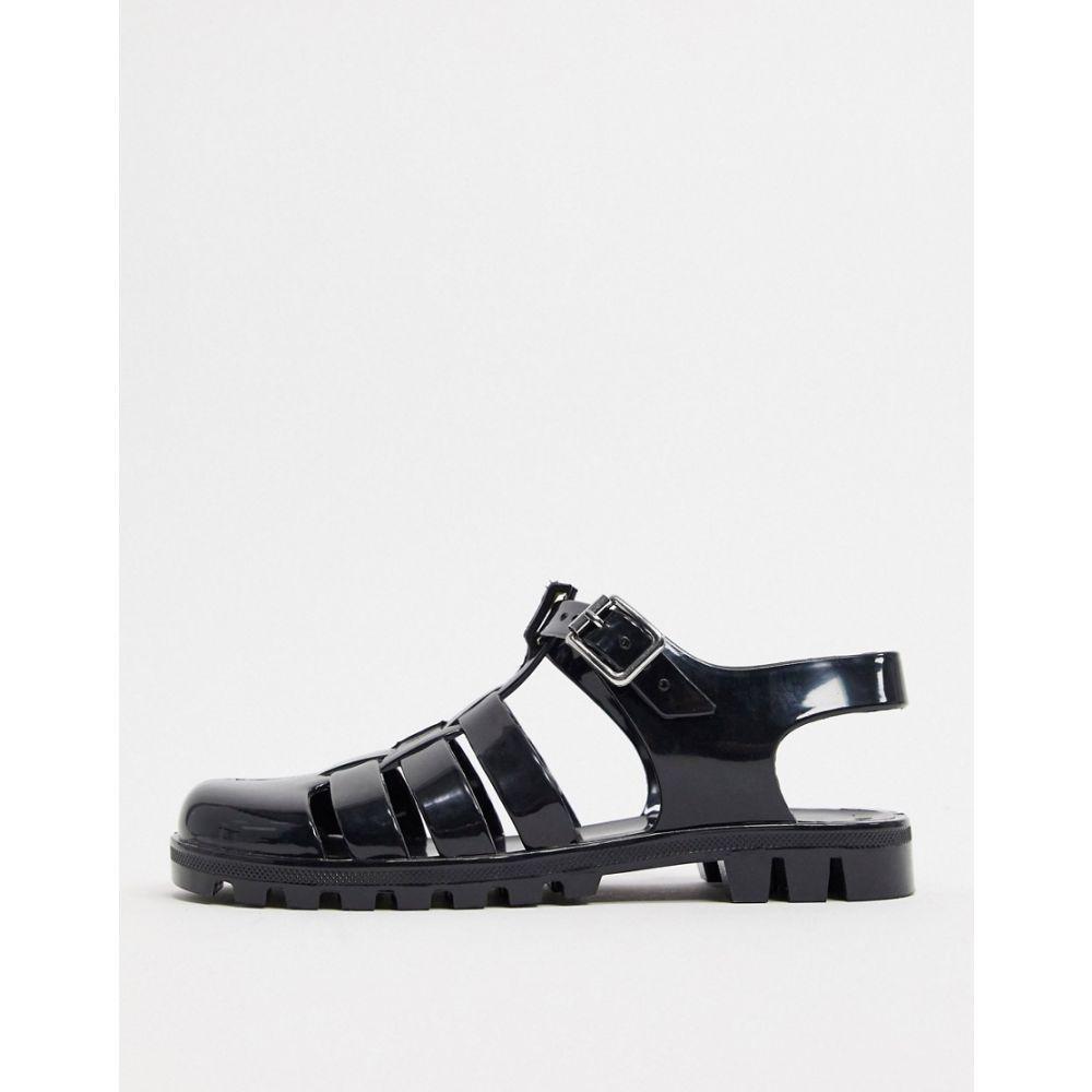 エイソス ASOS DESIGN レディース サンダル・ミュール フラット シューズ・靴【Asos Design Feature Fisherman Jelly Flat Sandals In Black】Black