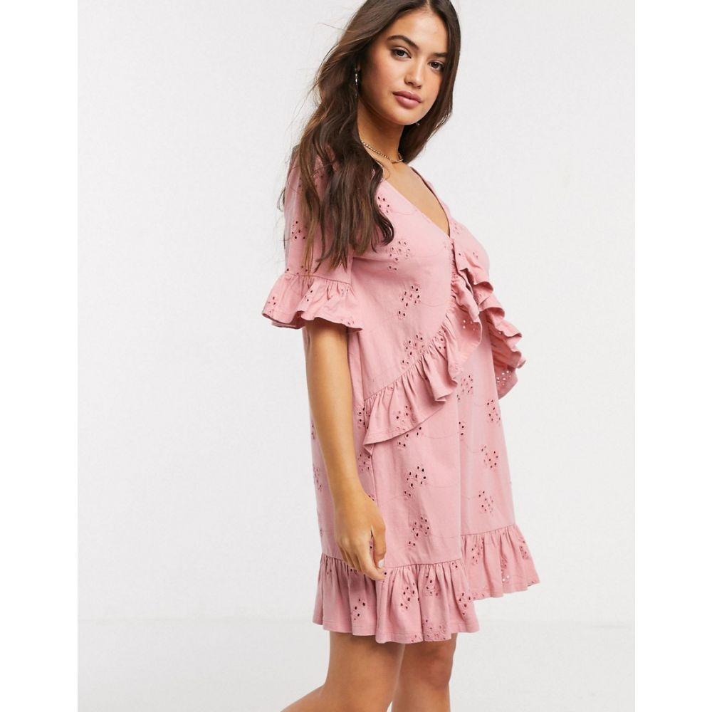 エイソス ASOS DESIGN レディース ワンピース ミニ丈 ワンピース・ドレス【Asos Design Broderie V Frill Front Smock Mini Dress In Rose】Rose