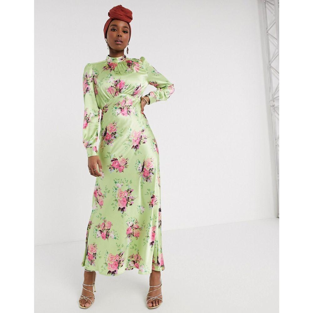エイソス ASOS DESIGN レディース ワンピース ワンピース・ドレス【Asos Design High Neck Maxi Satin Tea Dress In Bright Floral Print】Green based floral