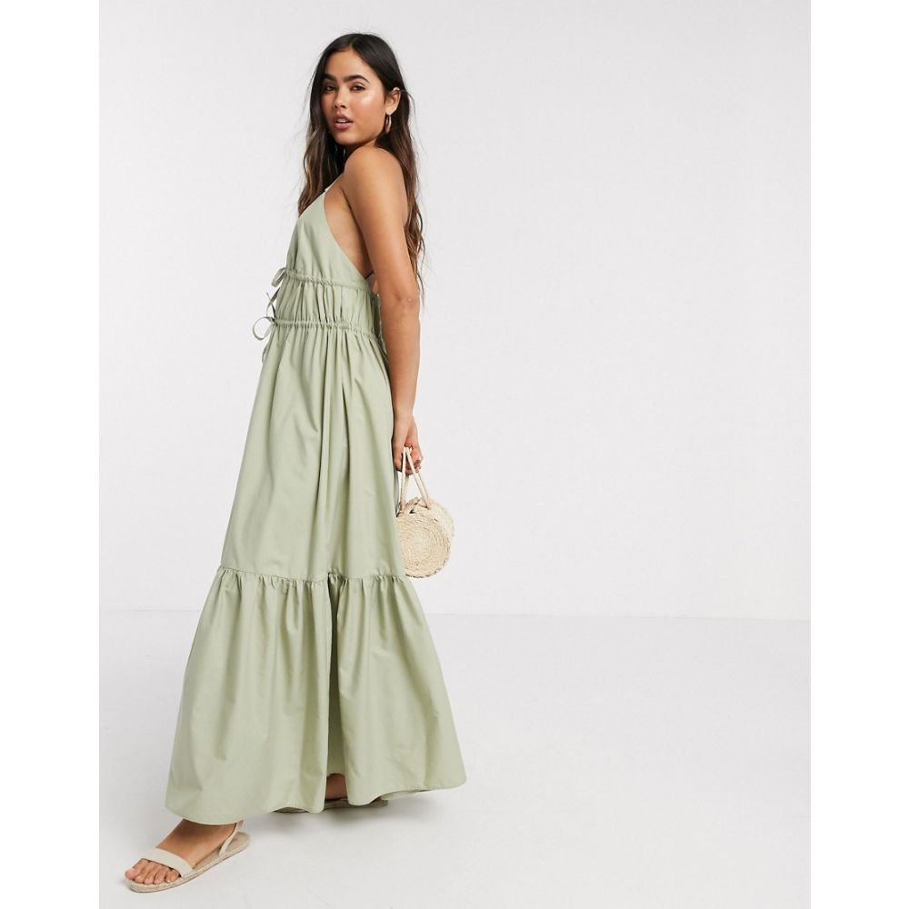 エイソス ASOS DESIGN レディース ワンピース キャミワンピ ワンピース・ドレス【Asos Design Cotton Poplin Plunge Cami Cross Back Maxi Dress In Khaki】Light khaki