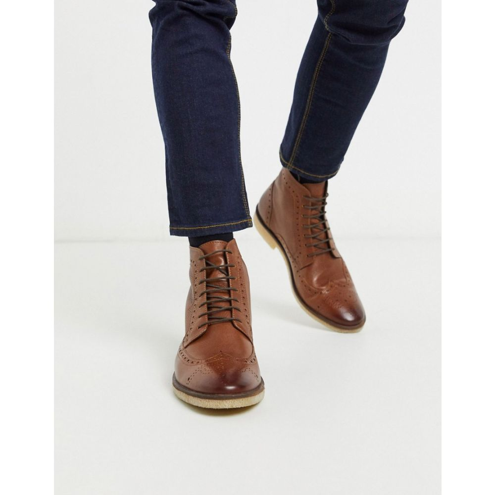 エイソス ASOS DESIGN メンズ ブーツ メダリオン シューズ・靴【Asos Design Brogue Boots In Tan Leather With Natural Sole】Tan