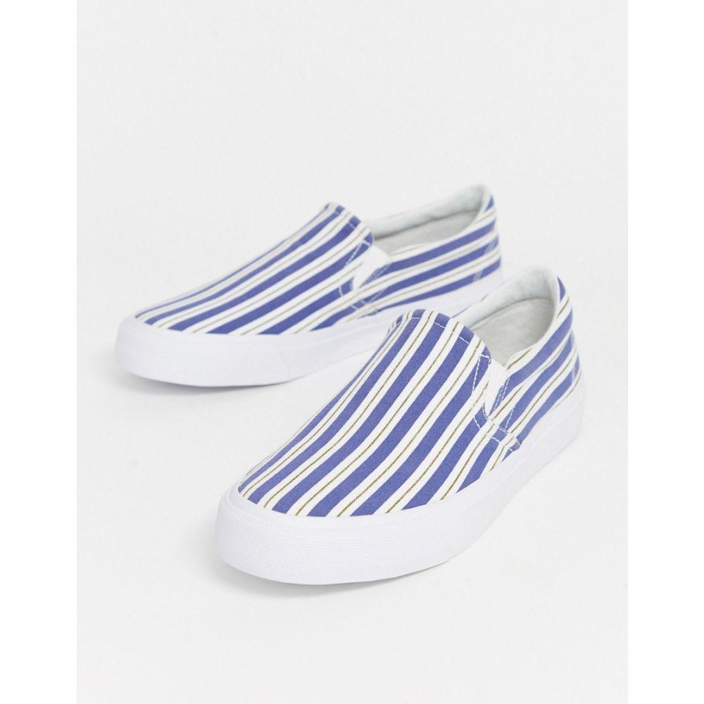 エイソス ASOS DESIGN メンズ スリッポン・フラット シューズ・靴【Asos Design Slip On Trainers With Stripe Print】White