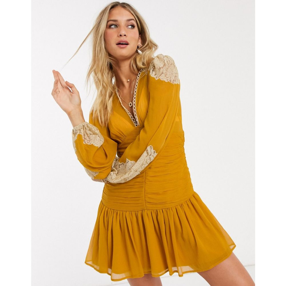 エイソス ASOS DESIGN レディース ワンピース ワンピース・ドレス【Asos Design Lace Insert Shirred Waist Skater Mini Dress In Mustard】Mustard