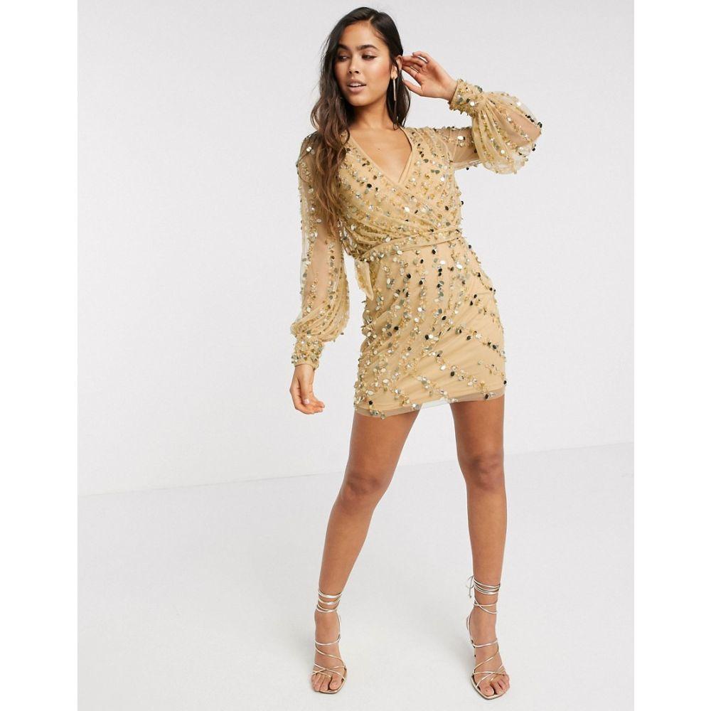 エイソス ASOS DESIGN レディース ワンピース ミニ丈 ワンピース・ドレス【Asos Design Embellished Robe Mini Dress With Belt Detail In Gold】Gold
