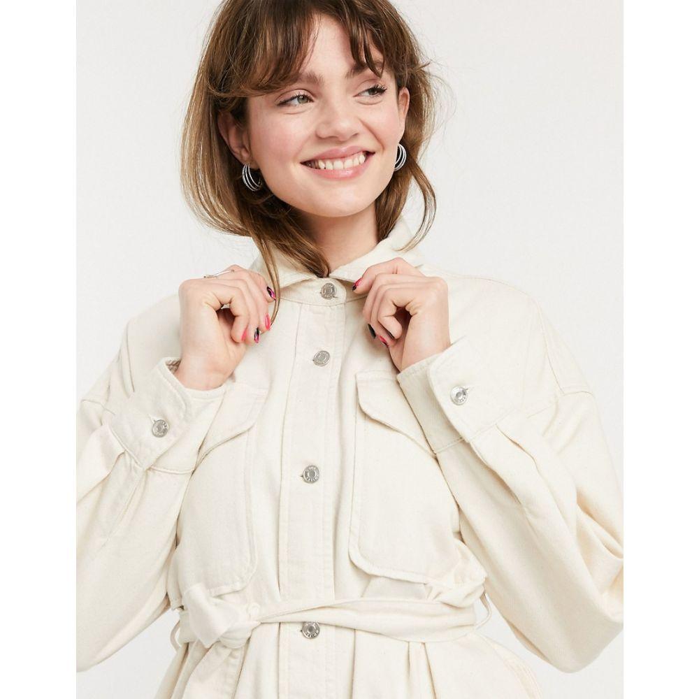 エイソス ASOS DESIGN レディース ブラウス・シャツ デニム トップス【Asos Design Denim Oversized Belted Shirt In Ecru】White