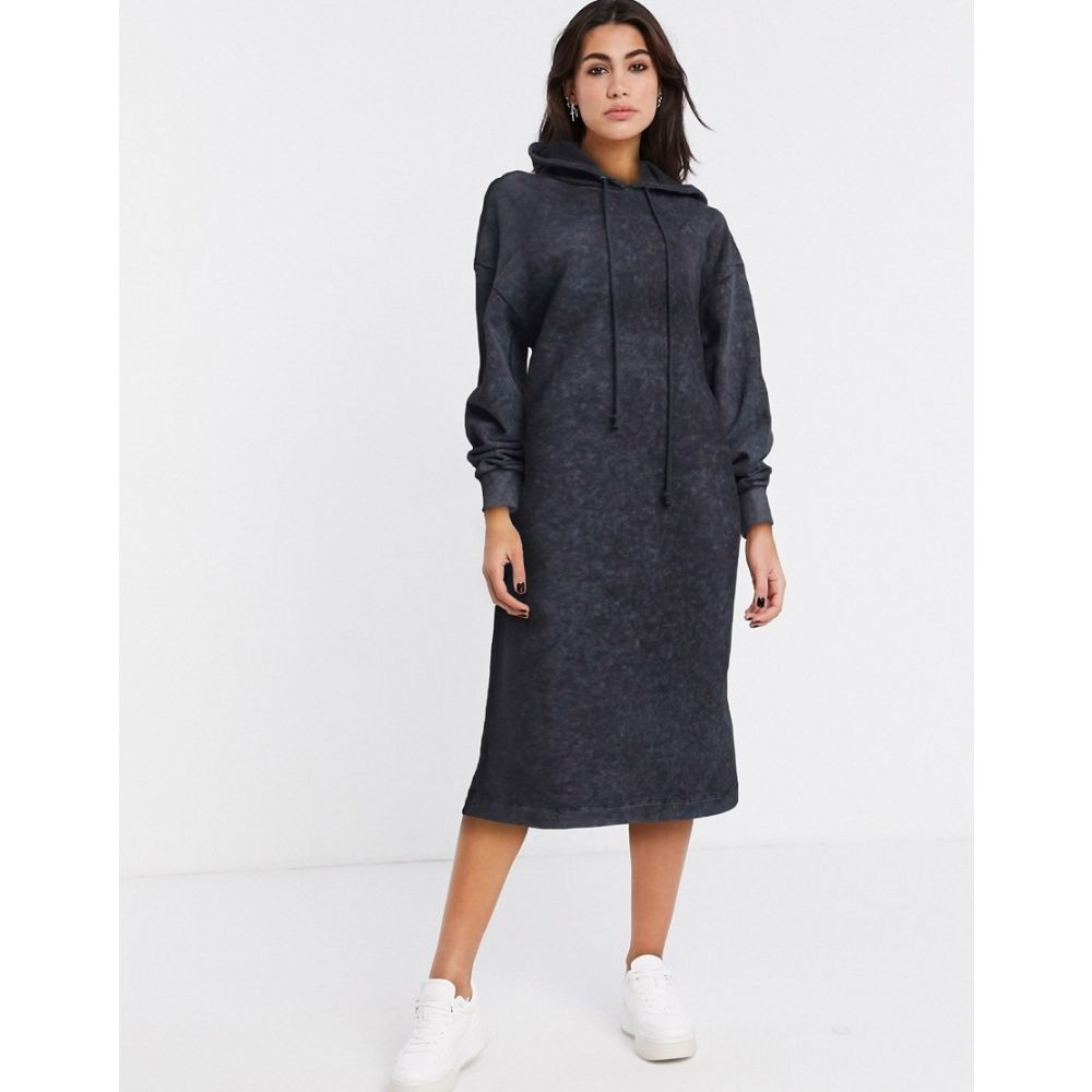 コルージョン Collusion レディース ワンピース パーカーワンピース ワンピース・ドレス【Maxi Hoodie Dress In Acid Wash Grey】Grey