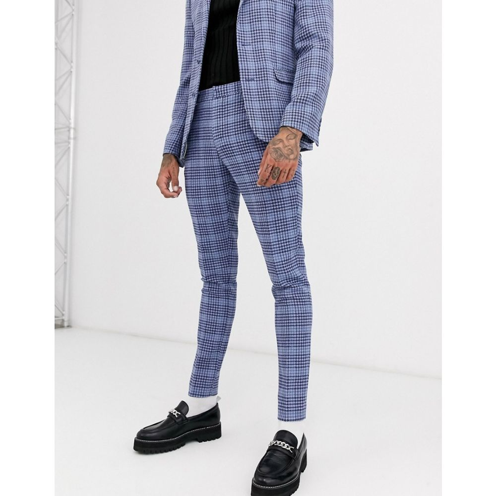 エイソス ASOS DESIGN メンズ スラックス ボトムス・パンツ【wedding super skinny suit trouser in blue wool blend check】Blue
