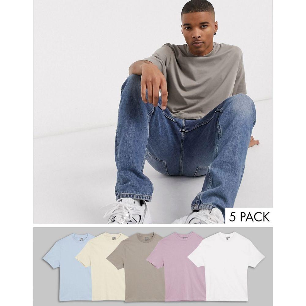 エイソス ASOS DESIGN メンズ Tシャツ 5点セット トップス【5 pack organic relaxed t-shirt】Multi