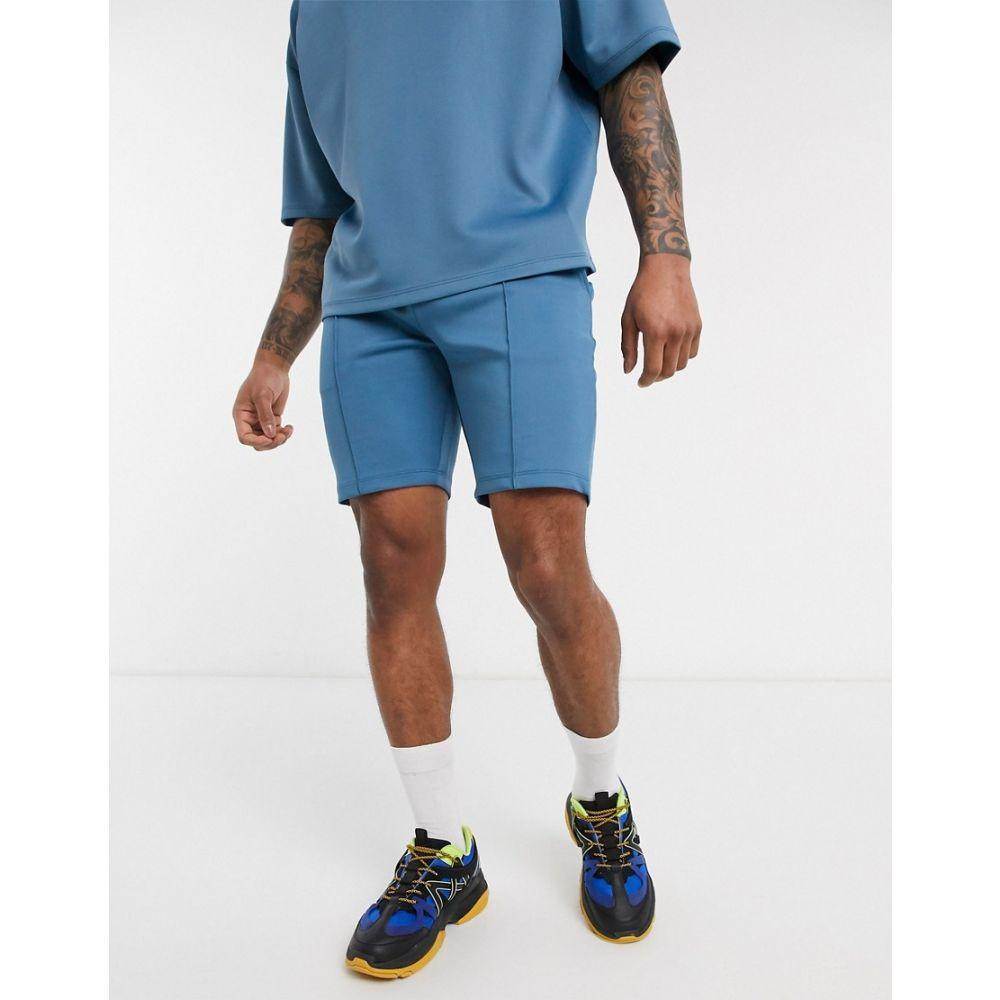 エイソス ASOS DESIGN メンズ ショートパンツ ボトムス・パンツ【co-ord scuba shorts in blue with pin tucks】Captains blue
