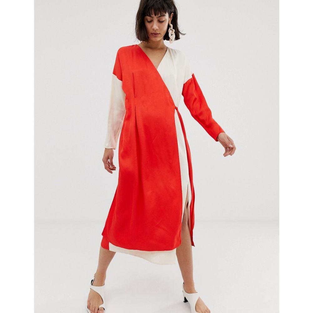 エイソス ASOS WHITE レディース ワンピース ラップドレス ワンピース・ドレス【contrast satin wrap dress】Red/white