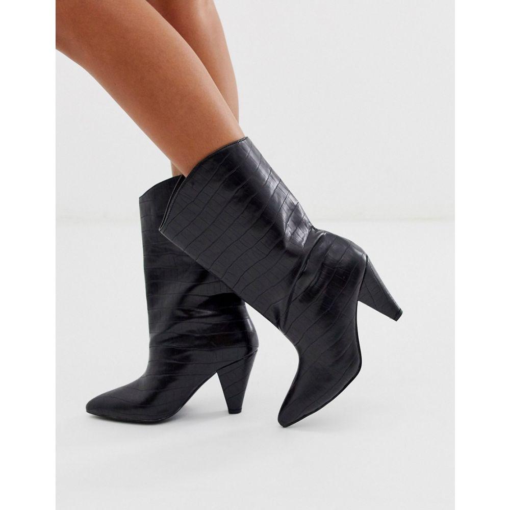 エイソス ASOS DESIGN レディース ブーツ シューズ・靴【Experiment pull on boots in black croc】Black croc