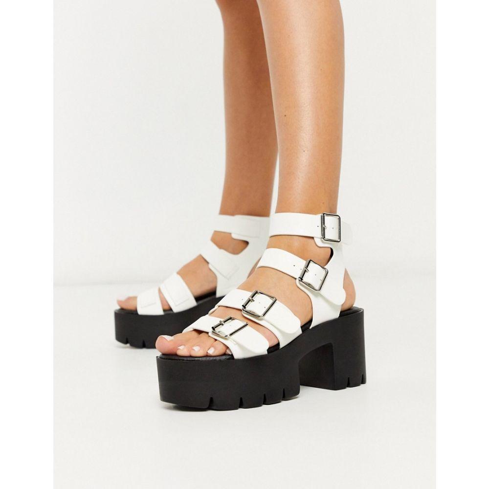 トリュフコレクション Truffle Collection レディース サンダル・ミュール シューズ・靴【buckle platform heeled sandals in white】White pu