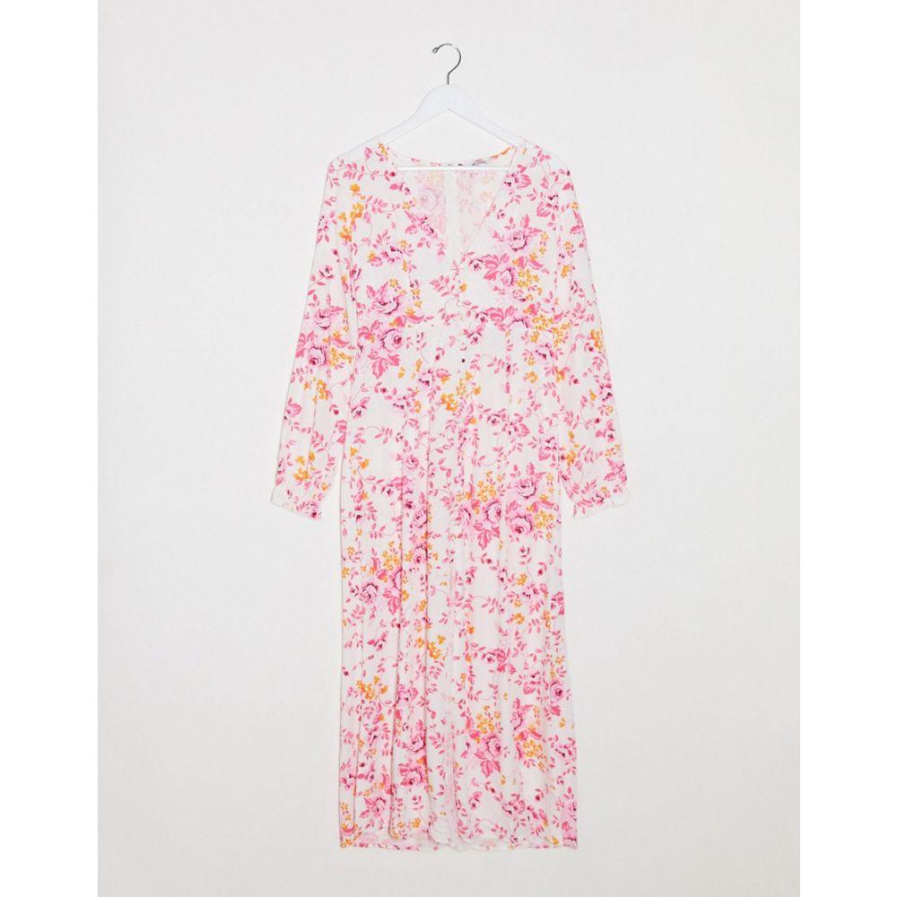 モンキ Monki レディース ワンピース ワンピース・ドレス【Lo floral print jacquard maxi dress in pink】Pink floral