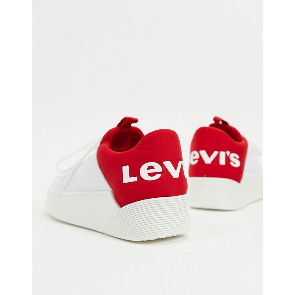 リーバイス Levi's レディース スニーカー レースアップ シューズ・靴【Levi mullets logo lace up trainers in white】White/red