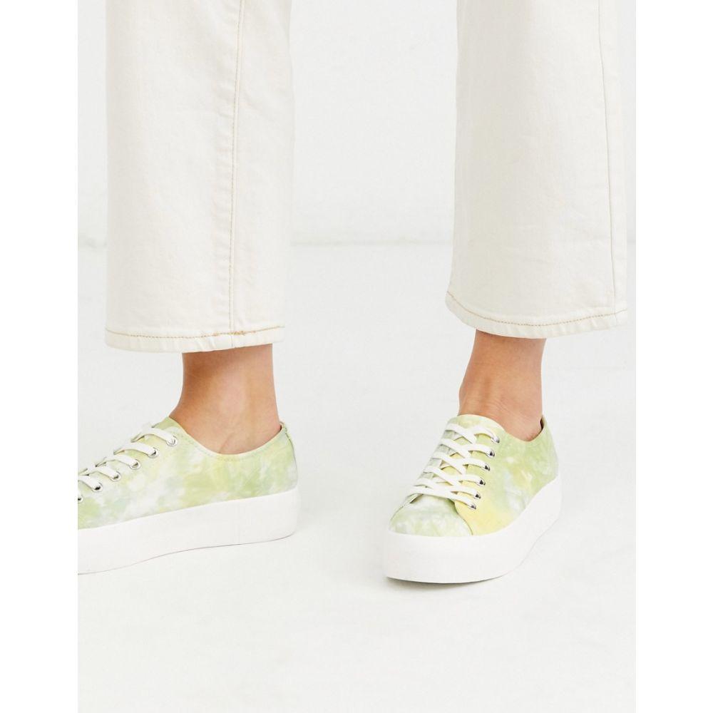 バガボンド Vagabond レディース スニーカー シューズ・靴【Peggy tie dye flatform trainers in yellow】Lime multi