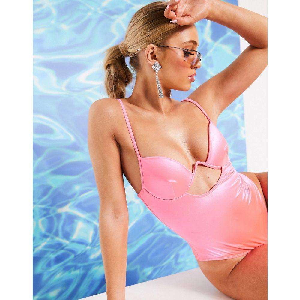 エイソス ASOS DESIGN レディース ワンピース 水着・ビーチウェア【mirror satin V wire cut out swimsuit in hot pink】Pink