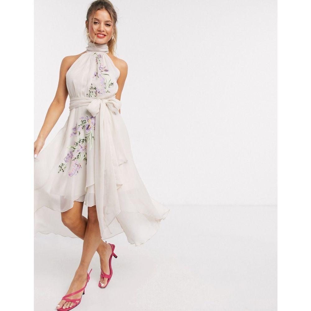 エイソス ASOS DESIGN レディース ワンピース ワンピース・ドレス【embroidered pleated halter dress with soft layered skirt】Cream