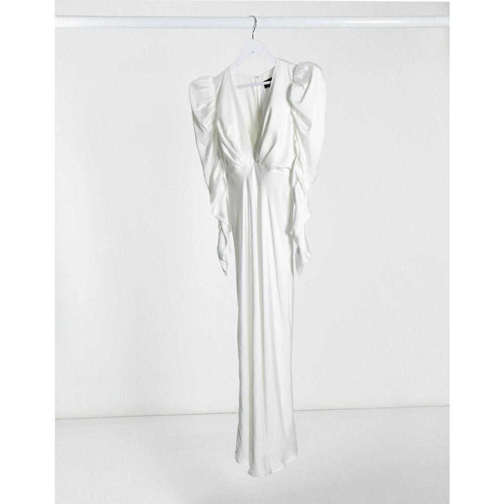 バルドー Bardot レディース ワンピース ワンピース・ドレス【deep plunge midaxi dress with elevated shoulder in ivory】Ivory