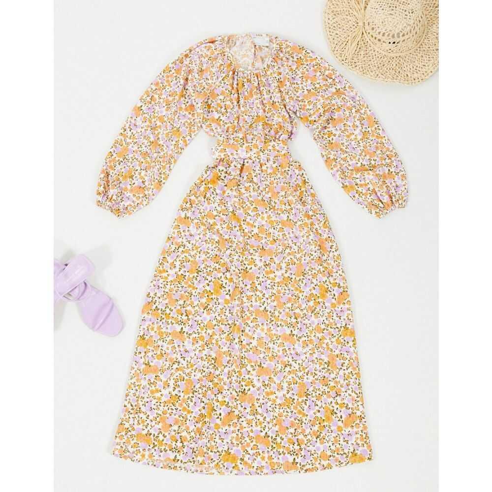 エイソス ASOS DESIGN レディース ワンピース ミドル丈 ワンピース・ドレス【Midi Dress with Cut Out Back and Tie Waist】Floral print