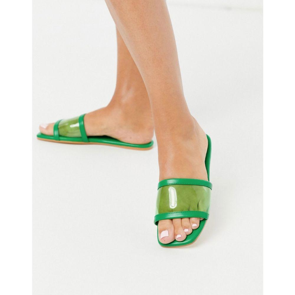 エイソス ASOS DESIGN レディース サンダル・ミュール フラット シューズ・靴【Flash clear mule flat sandals in green】Green/clear