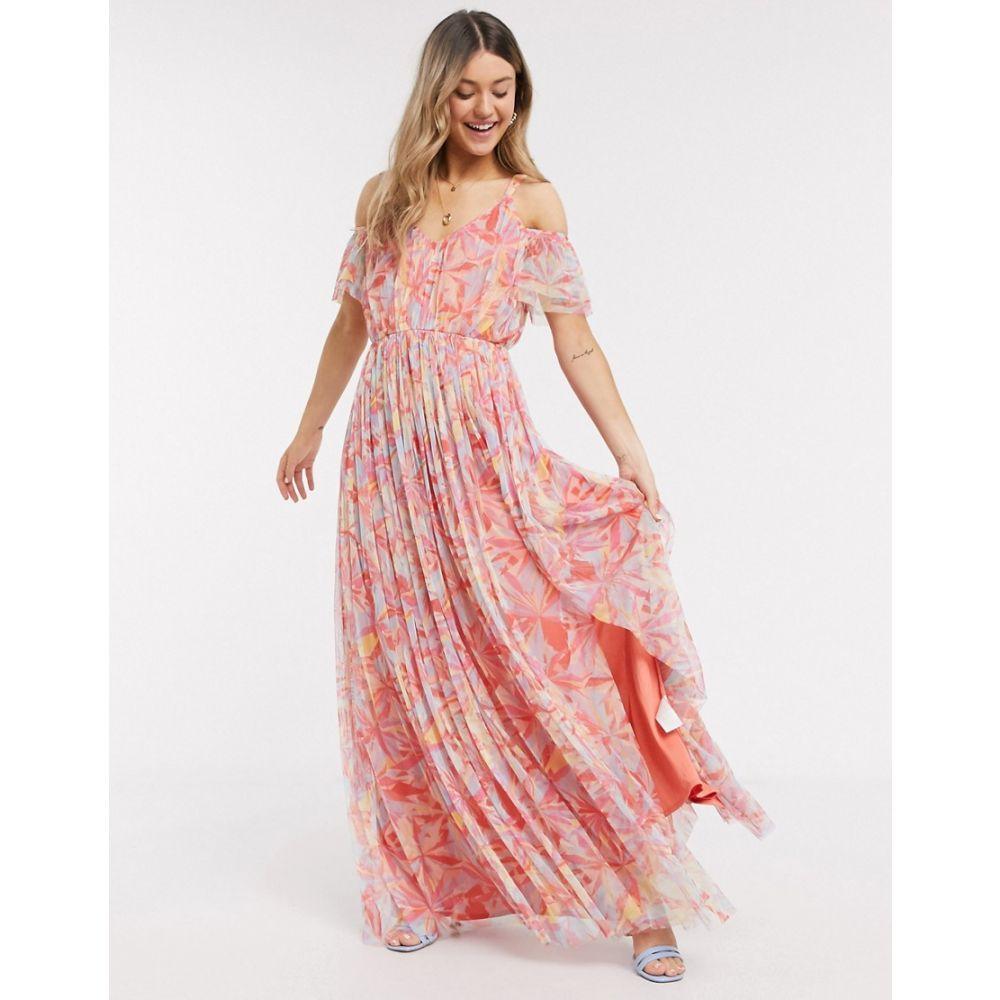 アナヤ Anaya レディース ワンピース ワンピース・ドレス【With Love cold shoulder all over floral printed pleat maxi dress in multi print】Multi