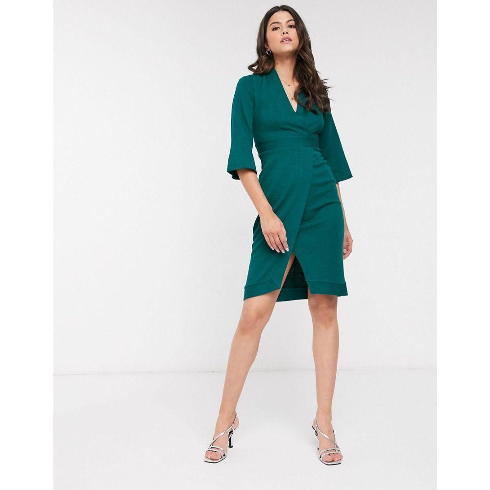 クローゼットロンドン Closet London レディース ワンピース ラップドレス ワンピース・ドレス【Closet panelled wrap dress in forest green】Forest green