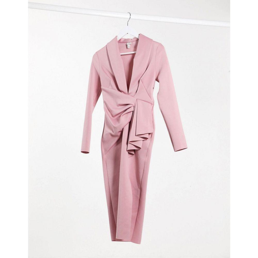 リバーアイランド River Island レディース ボディコンドレス ミドル丈 ワンピース・ドレス【plunge drape bodycon midi dress in pink】White