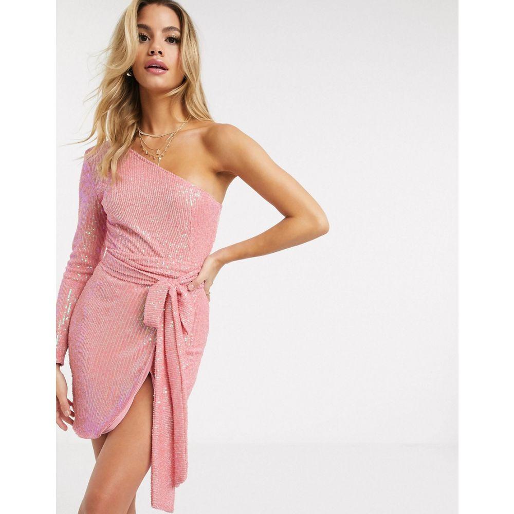 クラブエル ロンドン Club L London レディース ワンピース ラップドレス ワンピース・ドレス【one shoulder sequin wrap dress in pink】Pink