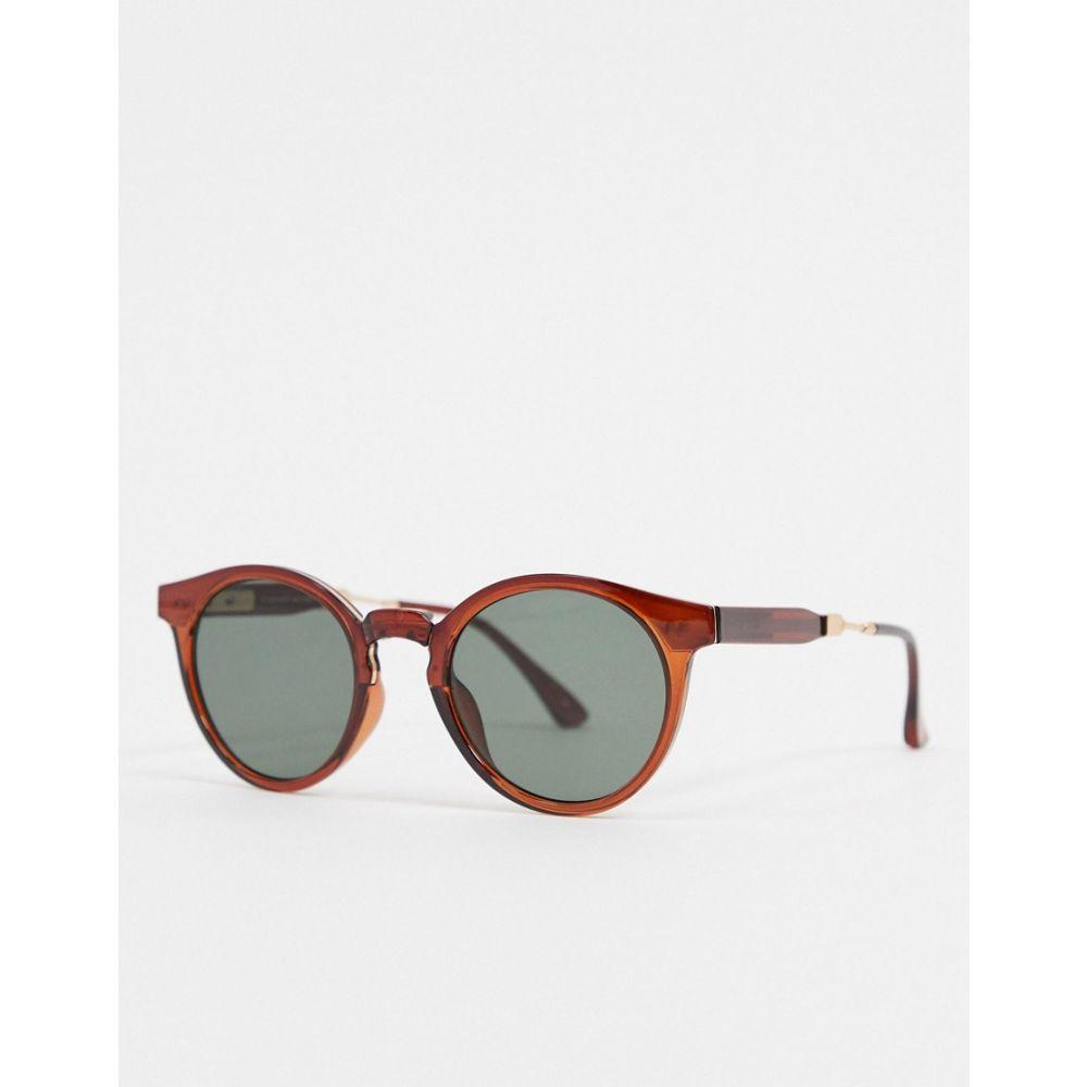 エキアビド A.Kjaerbede レディース メガネ・サングラス ラウンド【round sunglasses in brown with metal detailing】Brown