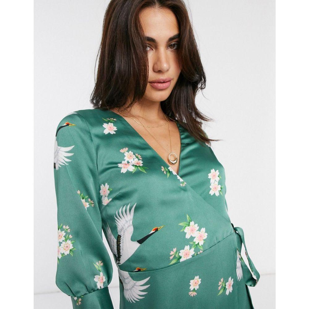 リカリッシュ Liquorish レディース ワンピース ラップドレス ワンピース・ドレス【maxi wrap dress in floral print】Green