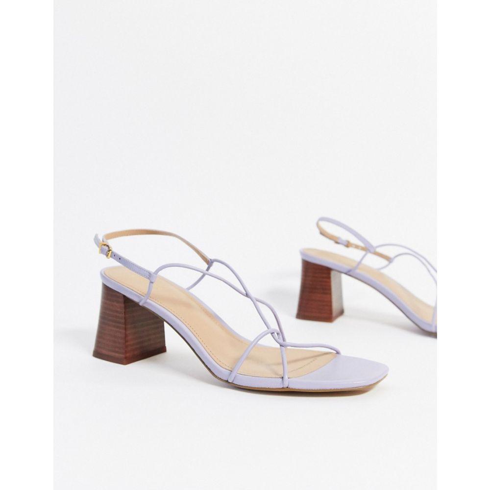 シューズ・靴【leather スクエアトゥ サンダル・ミュール lilac】Lilac & toe minimal in Stories レディース sandal Other square アンドアザーストーリーズ