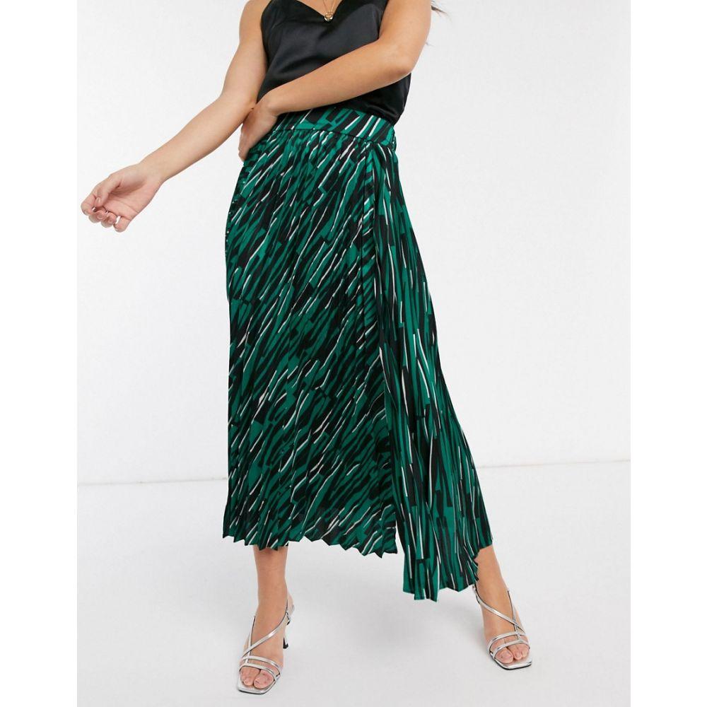 リカリッシュ Liquorish レディース ロング・マキシ丈スカート スリットスカート スカート【pleated midaxi skirt in abstract print with side slit】Green