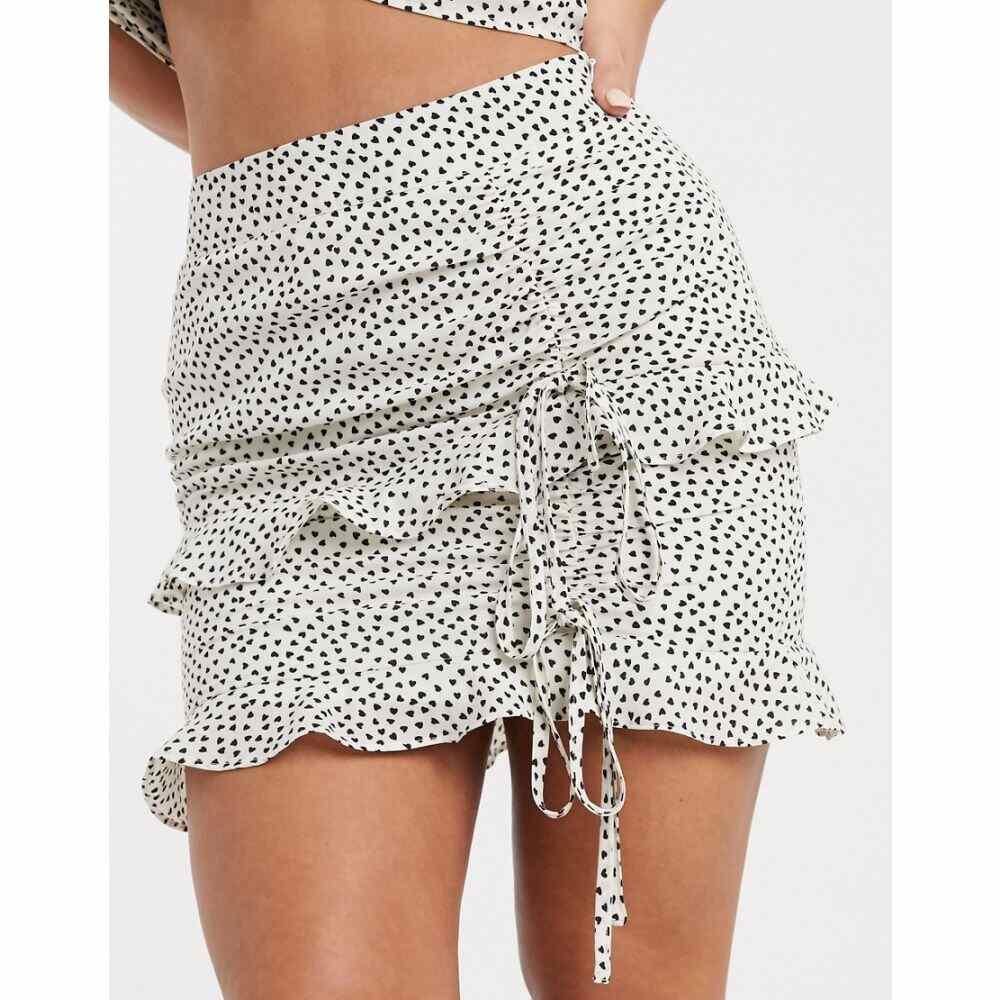 ラスラ Lasula レディース ミニスカート スカート【heart print ruched skirt in multi】Multi