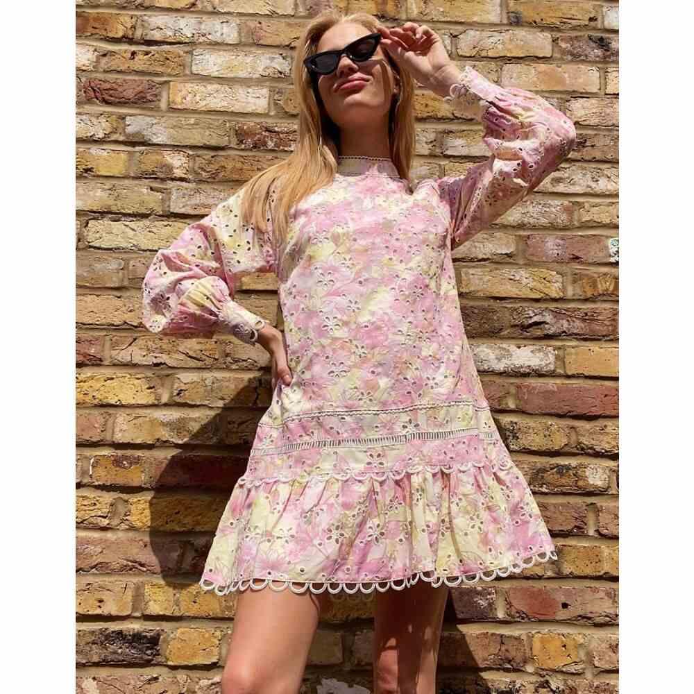 リバーアイランド River Island レディース ワンピース ワンピース・ドレス【high neck broderie dress】Floral print