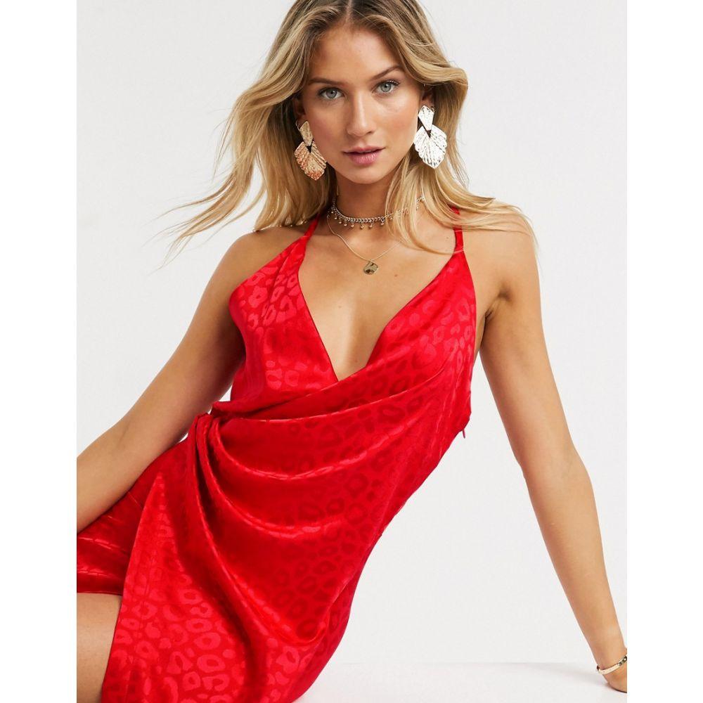 リカリッシュ Liquorish レディース ワンピース ラップドレス キャミワンピ ワンピース・ドレス【cami wrap midi dress in red animal print】Red