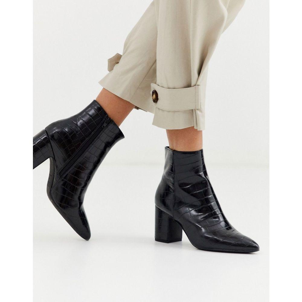 ニュールック New Look レディース ブーツ シューズ・靴【croc leather look boot in black】Black
