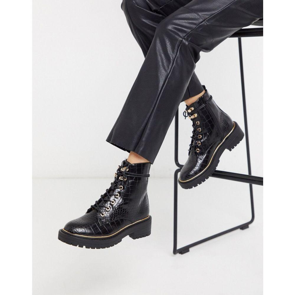 ニュールック New Look レディース ブーツ レースアップブーツ シューズ・靴【chunky lace up flat boots in black croc】Black