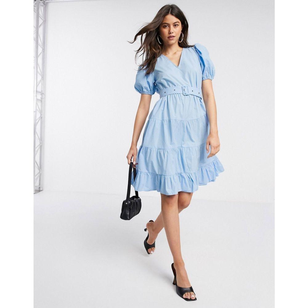 ヴェロモーダ Vero Moda レディース ワンピース ティアードドレス ワンピース・ドレス【tiered smock dress with self belt in blue】Blue